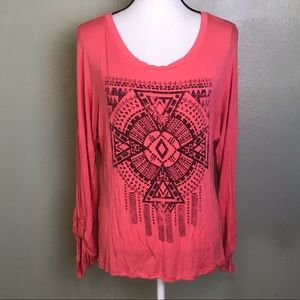 Self Esteem Long Sleeved Top with Aztec Front L